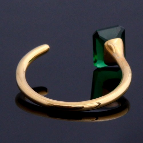 EMERALD GLASS RING OCTAGON